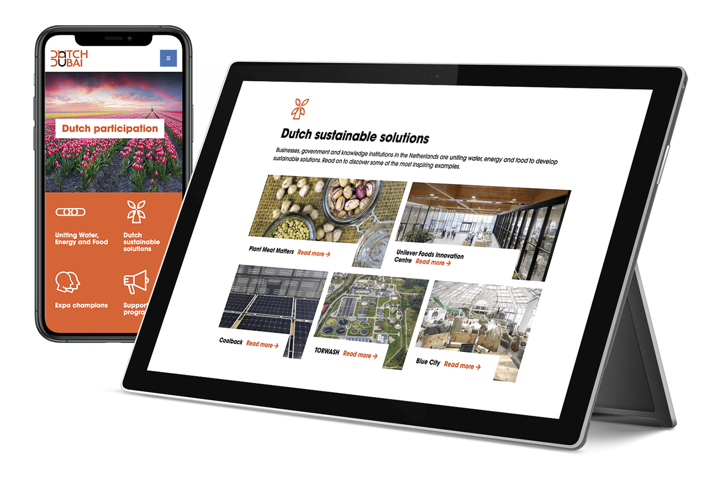 Fully responsive Dutch Dubai site shown on tablet and mobile phone